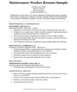 maintenance worker resume sample  resume companion building maintenance job description template