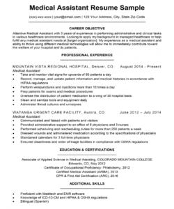 medical assistant resume sample  resume companion medical assistant job description template doc