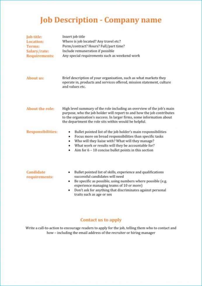 modern job description template  free download modern job description template pdf