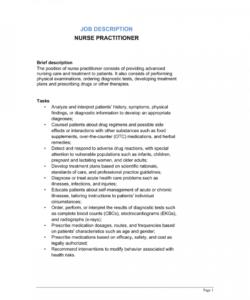 nurse practitioner job description template  by businessin nurse practitioner job description template