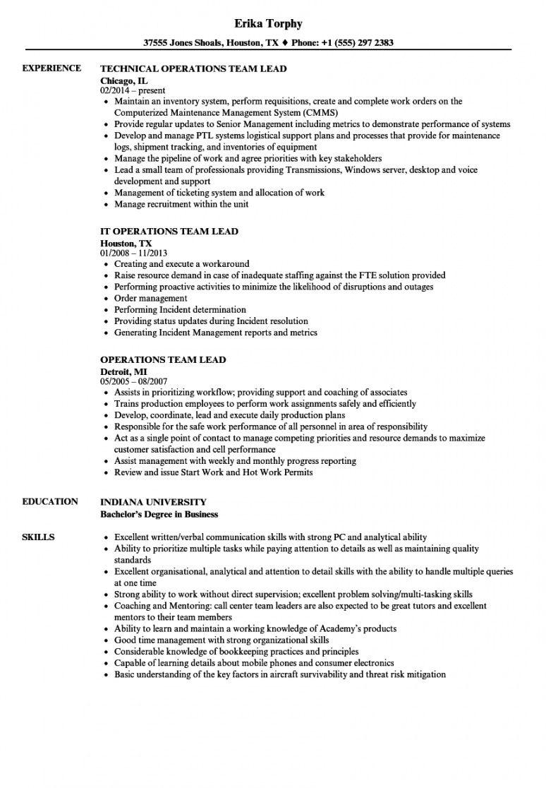 operations team lead resume samples  velvet jobs team leader job description template doc