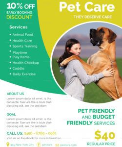 pet care services flyer design template in psd word pet care flyer template