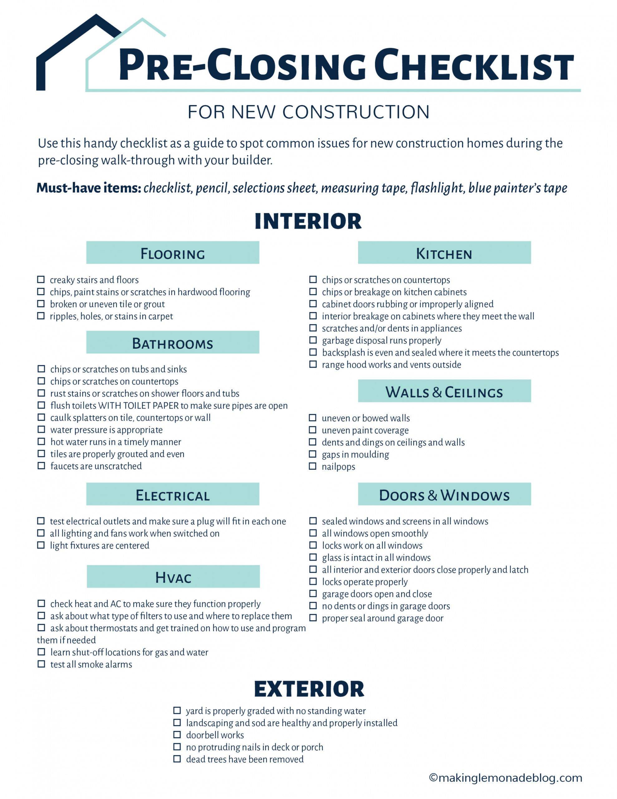 printable building a house? grab this free checklist  making lemonade pre construction checklist template pdf