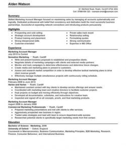 professional account manager resume examples  marketing national account manager job description template