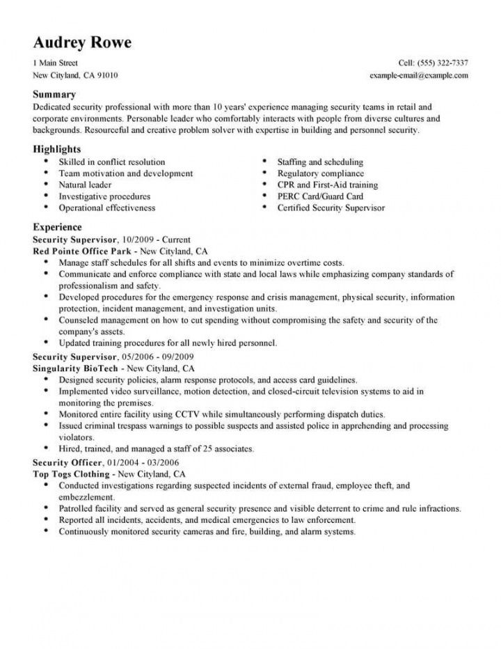 professional security supervisor resume examples  safety safety officer job description template pdf