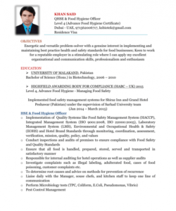 qhse & food hygiene officer  cv safety officer job description template and sample