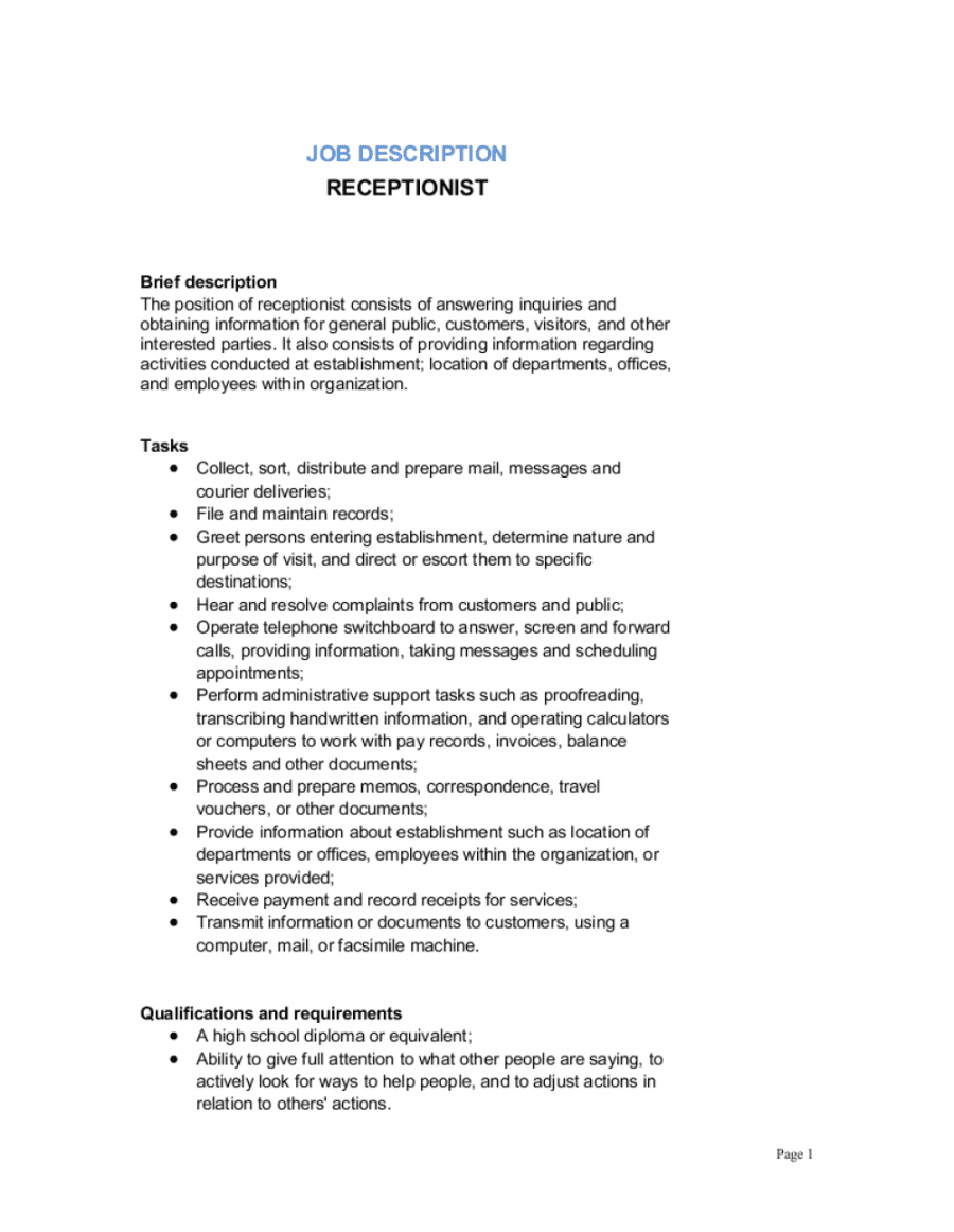 receptionist job description template  by businessinabox™ office assistant job description template and sample