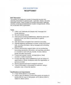 receptionist job description template  by businessinabox™ receptionist job description template and sample
