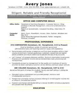 receptionist resume sample  monster receptionist job description template and sample