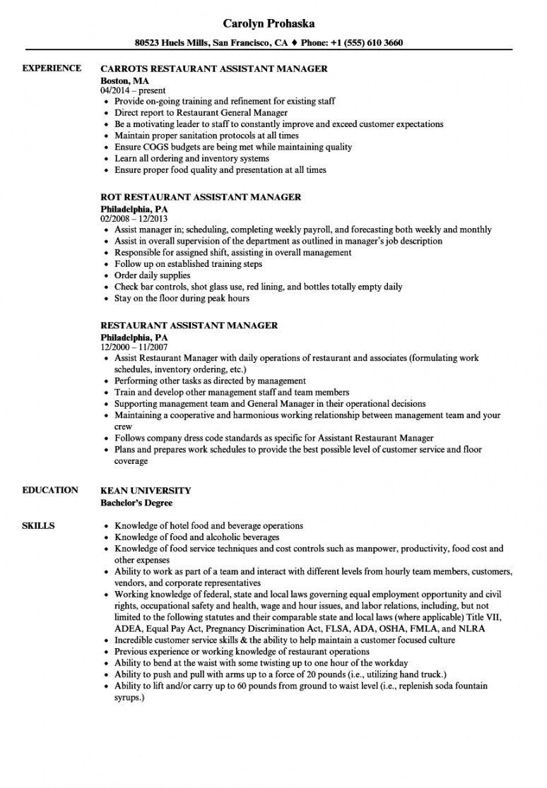 restaurant assistant manager resume samples  velvet jobs assistant manager job description template and sample
