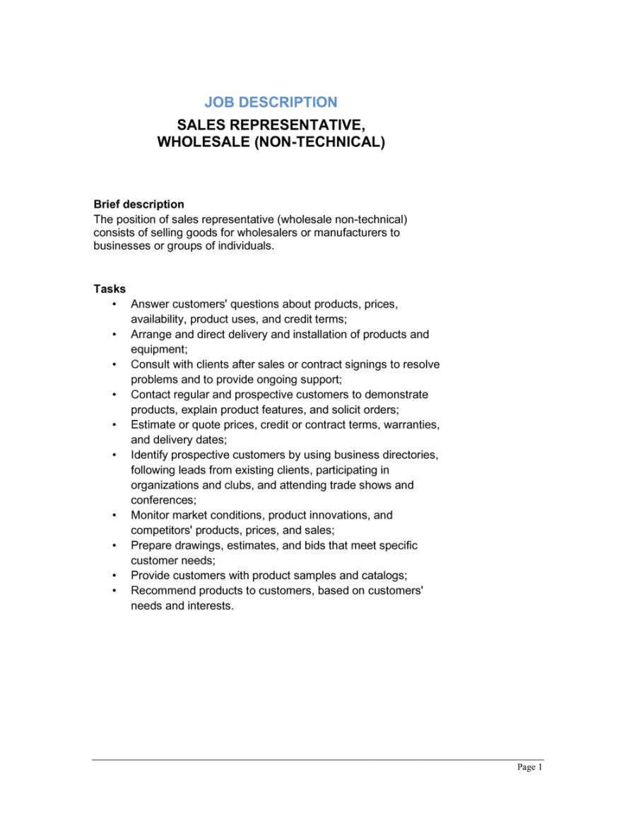 sales representative wholesale nontechnical job salesperson job description template and sample