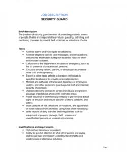 security guard job description template  by businessinabox™ security officer job description template doc