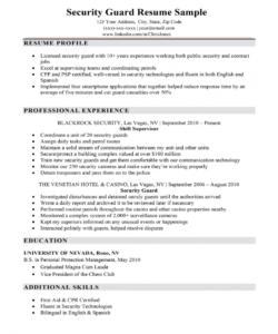 security guard resume sample & writing tips  resume companion security officer job description template pdf