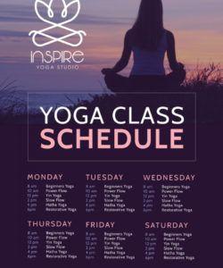 stunning yoga class schedule poster template yoga class flyer template doc