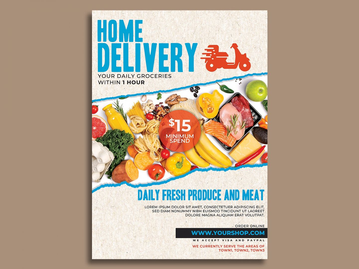 supermarket groceries delivery flyer template by hotpin on food delivery flyer template pdf