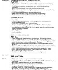 warehouse manager resume samples  velvet jobs warehouse manager job description template pdf