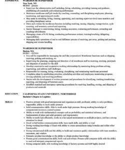 warehouse supervisor resume samples  velvet jobs warehouse manager job description template