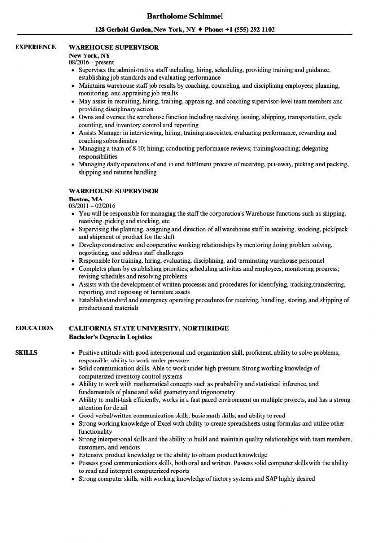 warehouse supervisor resume samples velvet jobs warehouse