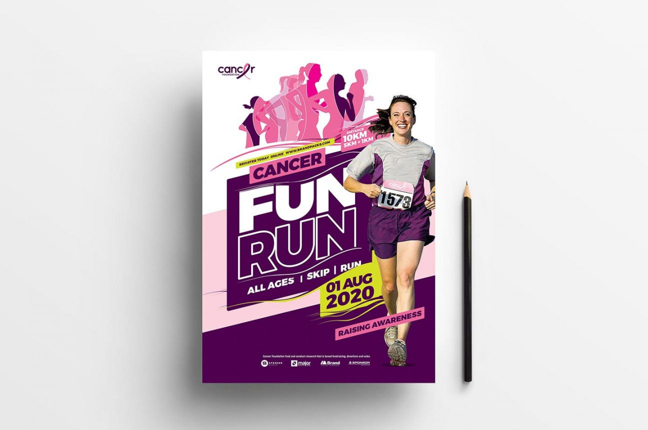 a4 cancer fun run advertisement template in psd ai & vector fun run flyer template and sample