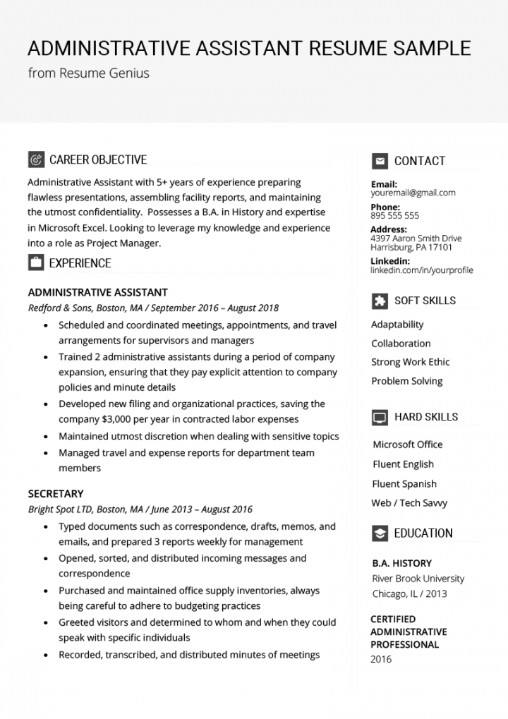 administrative assistant resume example & writing tips administrative assistant job description template and sample