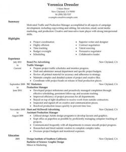 best traffic and production manager resume example  livecareer production manager job description template pdf