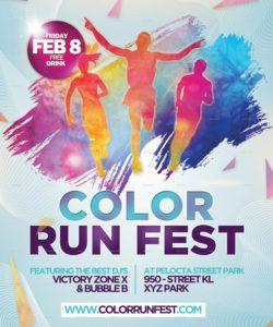 color run festival flyer template fun run flyer template pdf