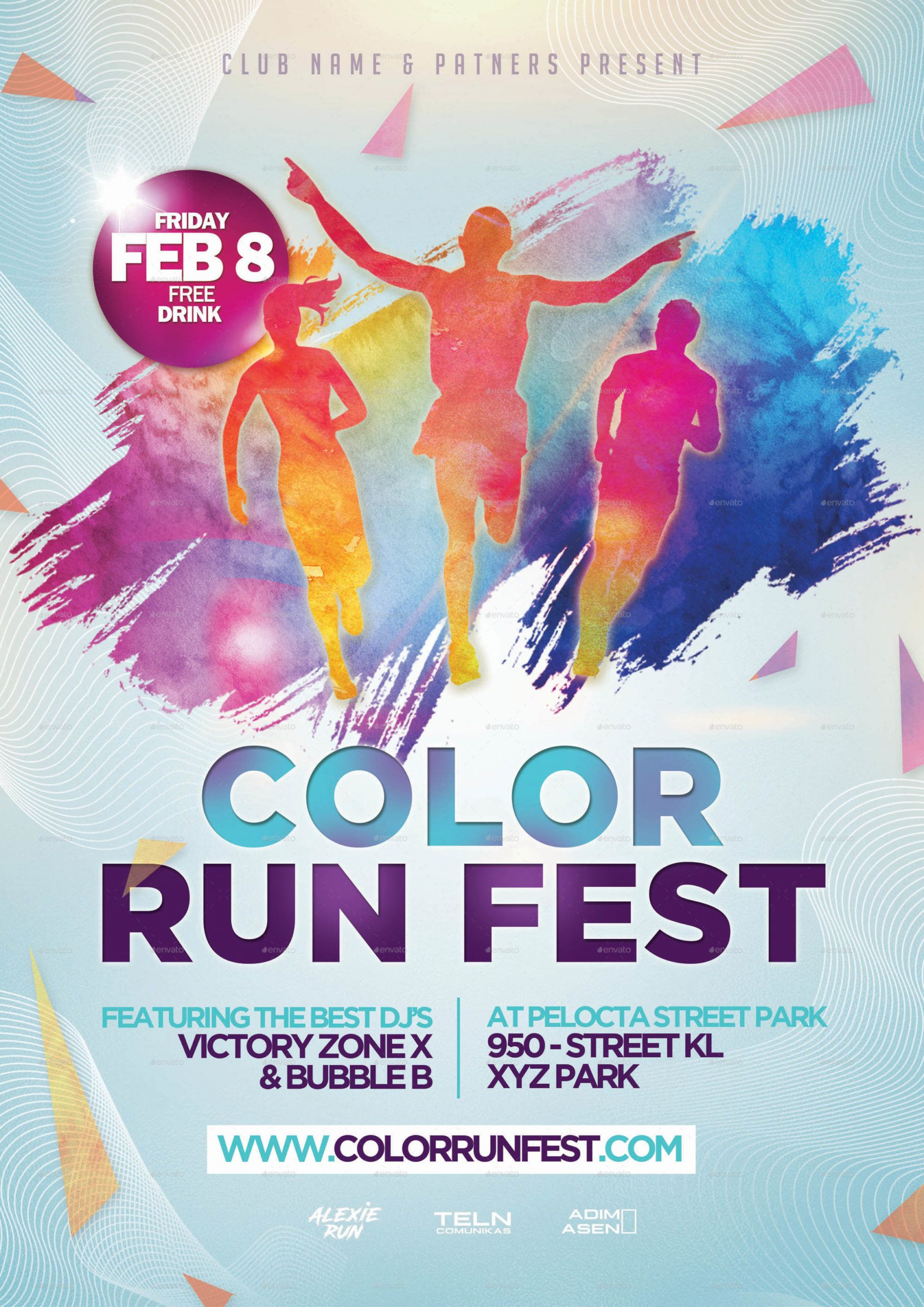 color run festival flyer template fun run flyer template pdf