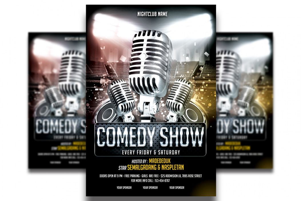 comedy show flyer template 2 comedy show flyer template