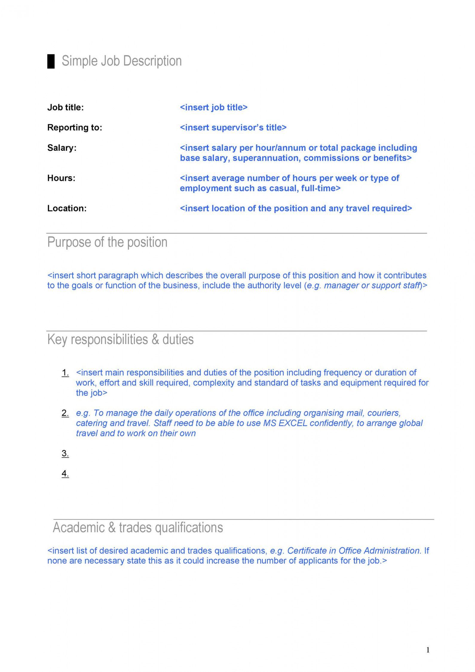 free 47 job description templates & examples ᐅ templatelab generic job description template doc