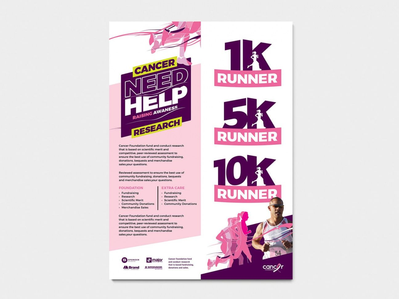free a4 cancer fun run advertisement template in psd ai & vector fun run flyer template
