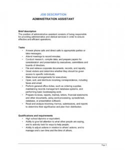 free administrative assistant job description template  by administrative assistant job description template
