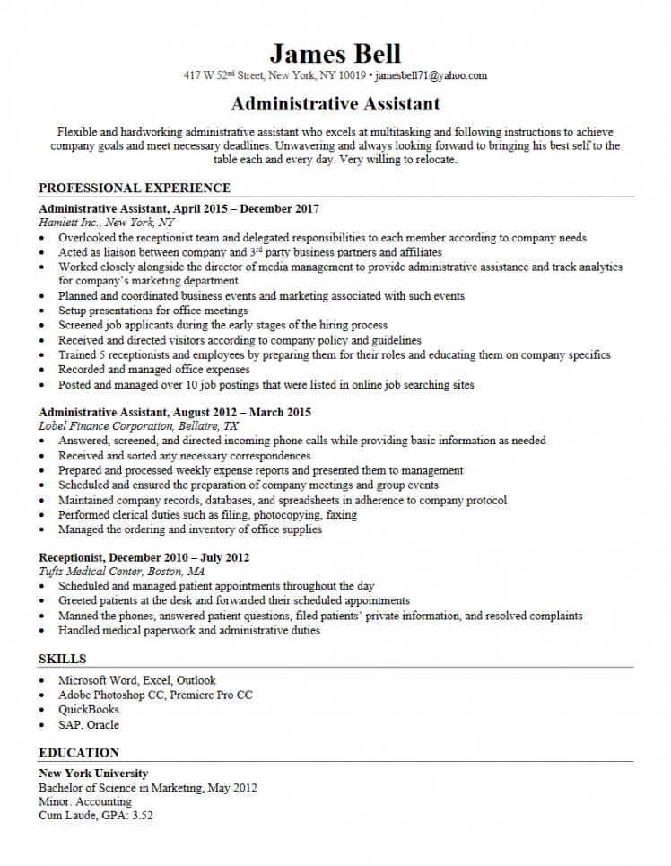 free administrative assistant resume resumego