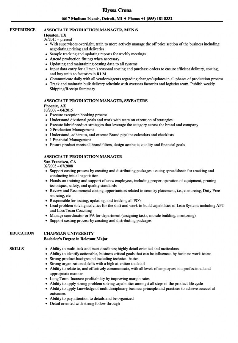 free associate production manager resume samples  velvet jobs production manager job description template and sample