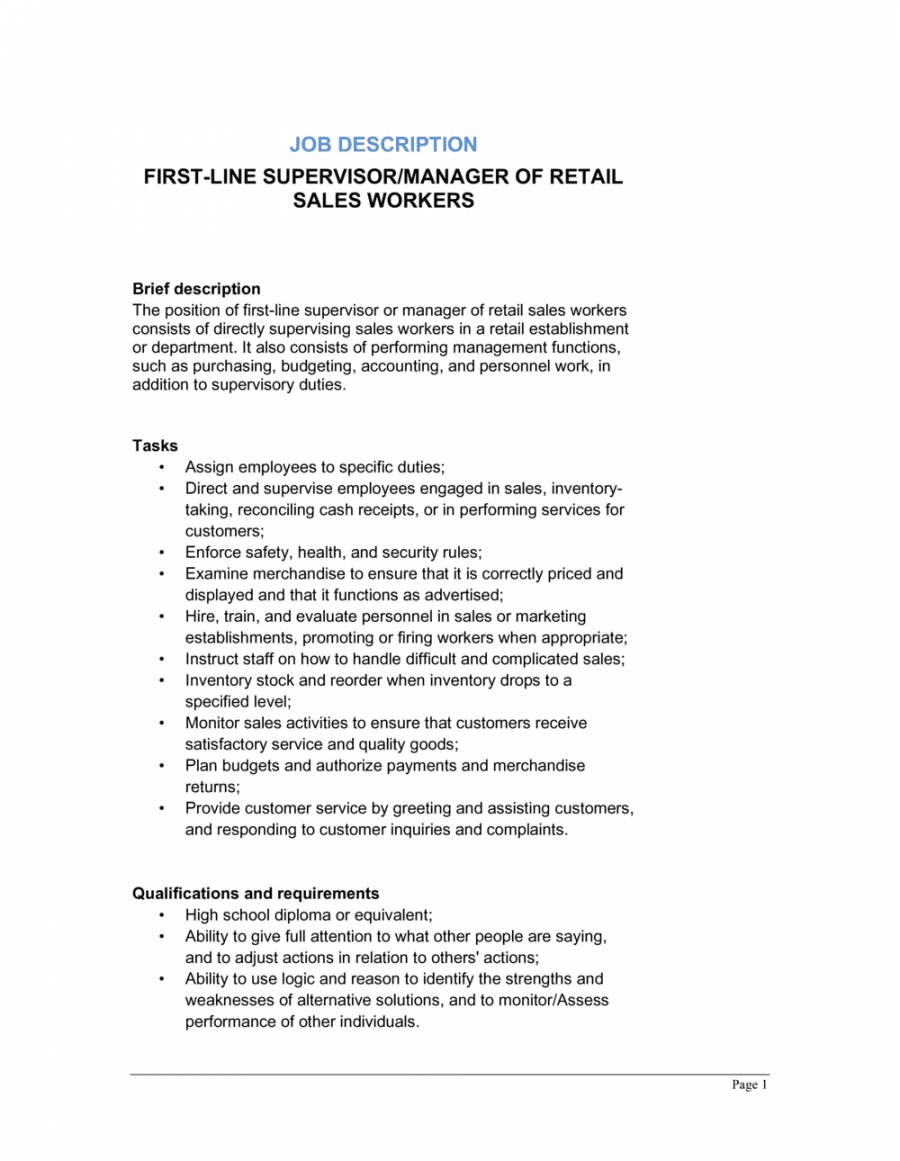free firstline supervisor or manager of retail sales workers job retail manager job description template doc