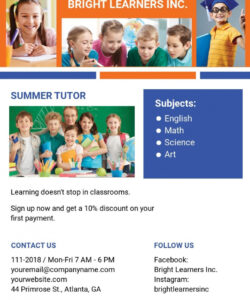 free free education tutoring flyer template  word doc  psd summer tutoring flyer template