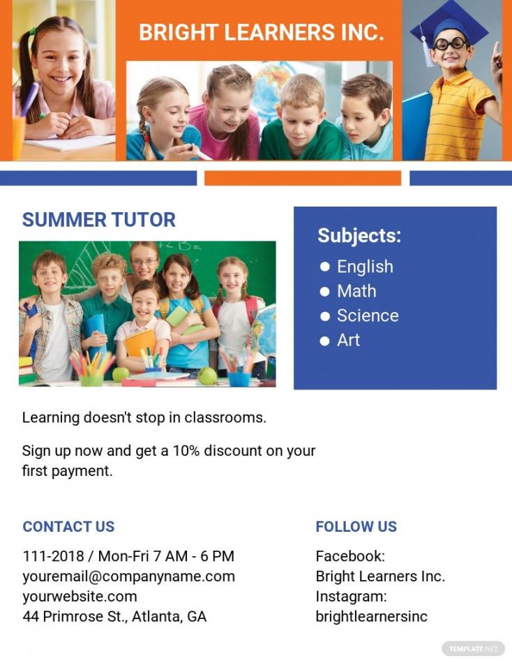 free free education tutoring flyer template  word doc  psd summer tutoring flyer template