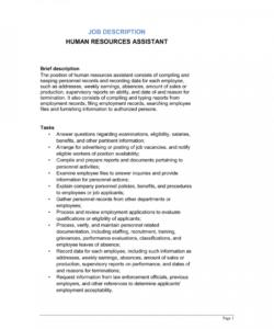 free human resources assistant job description template  by hr job description template pdf