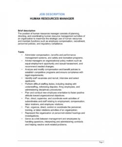 free human resources manager job description template  by hr job description template and sample