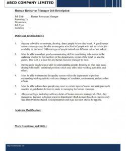 free human resources manager job description template hr job description template