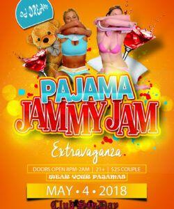 free pajama jam party flyer template  club sinday  cincinnati pajama party flyer template and sample