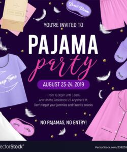 free pajama party poster royalty free vector image  vectorstock pajama party flyer template and sample