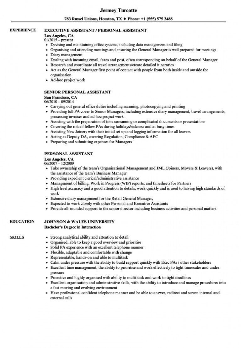 free personal assistant resume samples velvet jobs