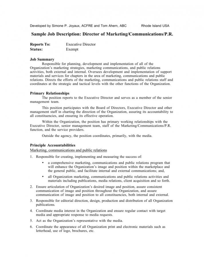 free sample job description director of marketing executive director job description template pdf