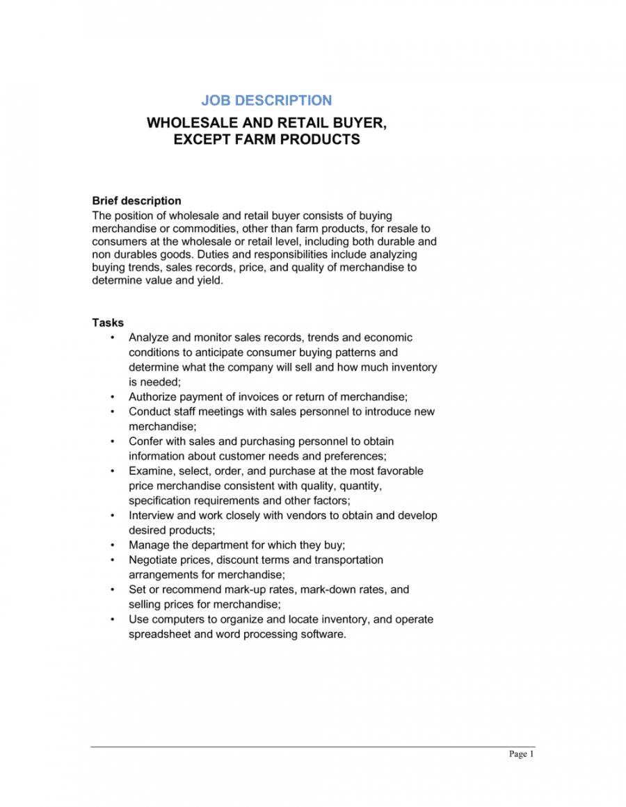 free wholesale and retail buyer except farm products job retail job description template doc
