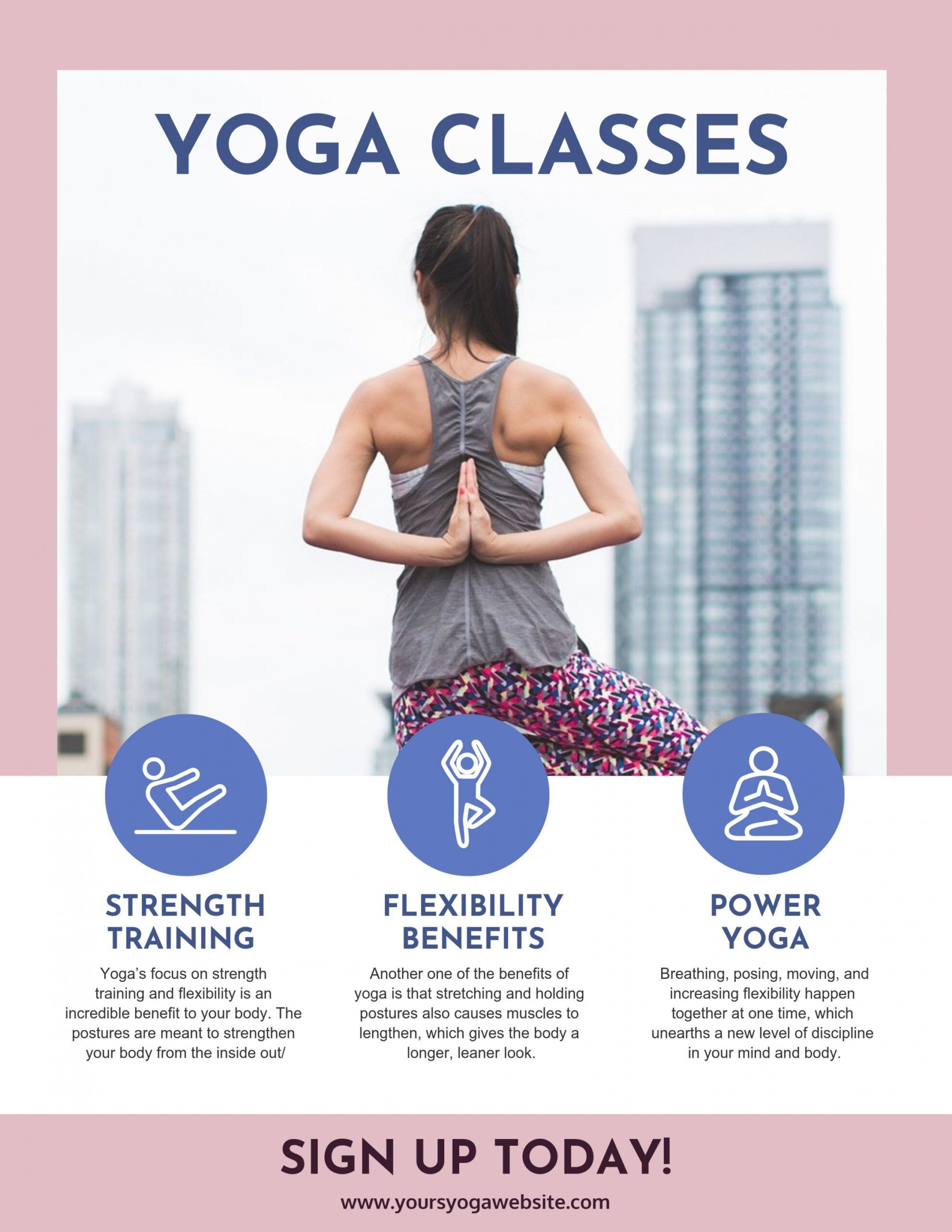 free yoga class poster exercise class flyer template and sample