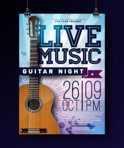 live music flyer design with acoustic guitar on grunge live music flyer template doc