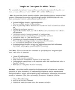 sample job description for board officers board member job description template