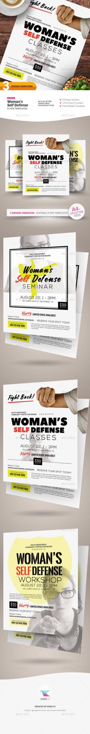 woman's self defense flyer templates self defense class flyer template doc