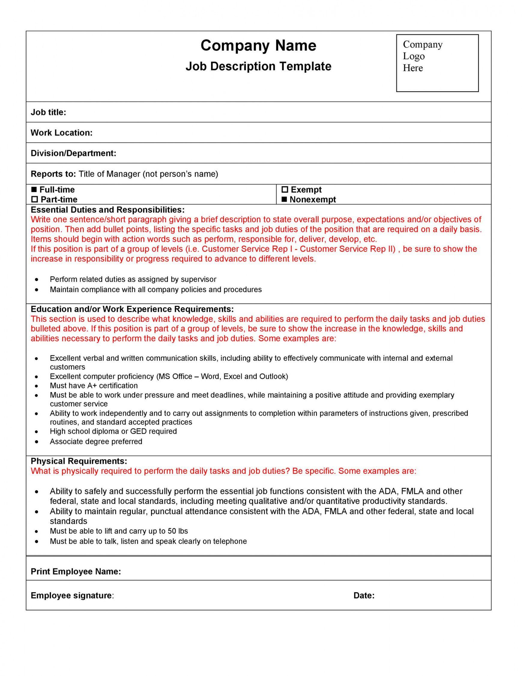 47 job description templates & examples ᐅ templatelab blank job description template and sample