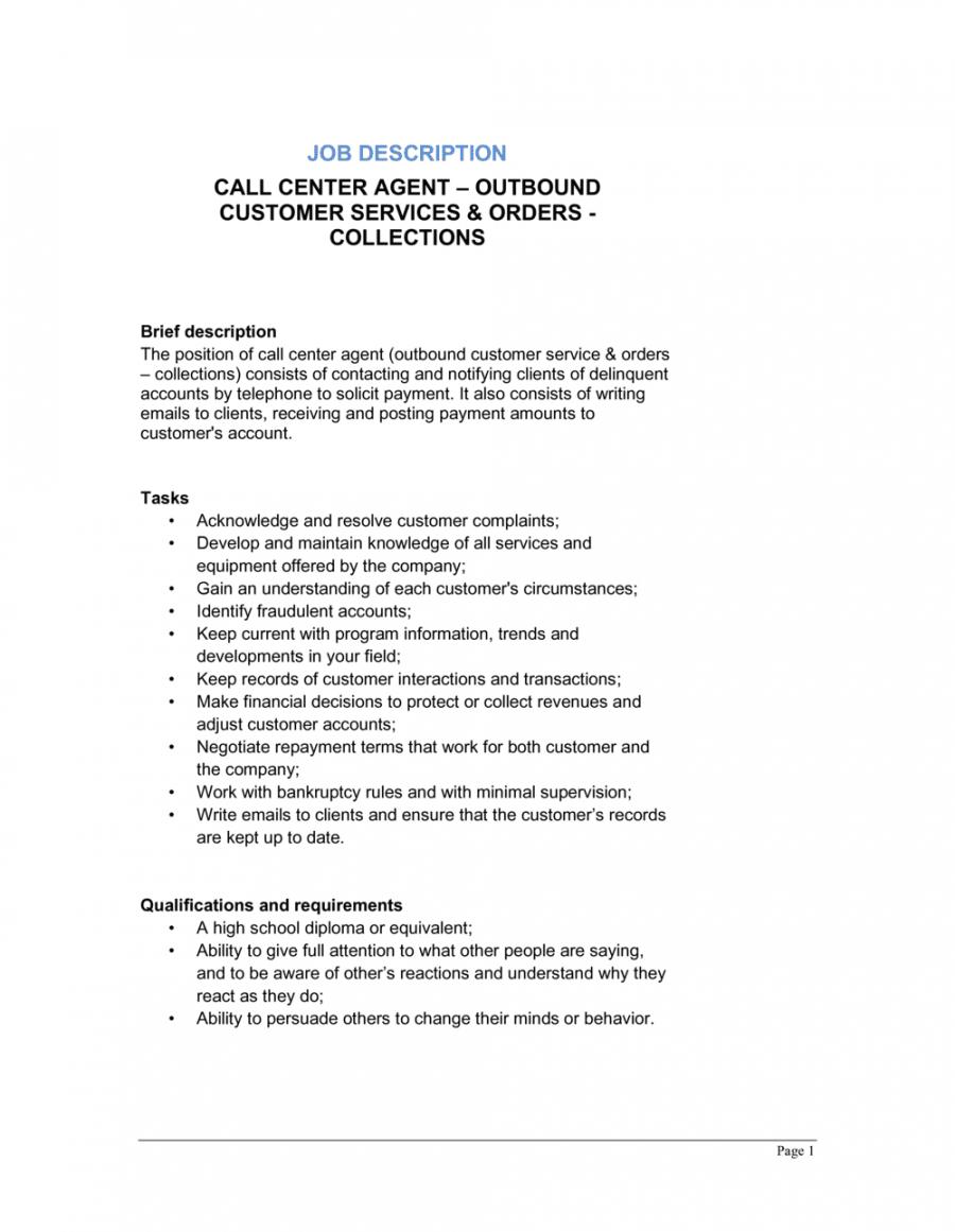 call center agent outbound_customer service & collection job customer service job description template doc